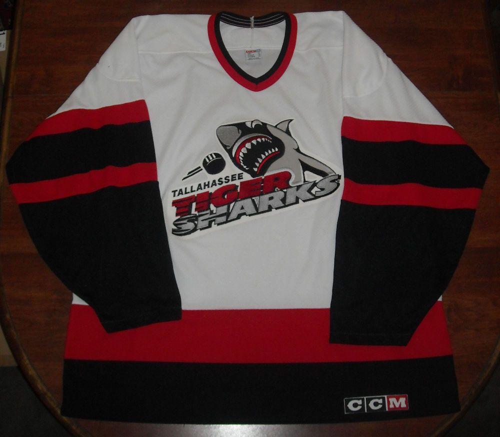 Rare Tallahassee Tiger Sharks Ccm Jersey Men S Xl Echl Defunct Team Ccm Tallahasseetigersharks Tigersharks Hockey Sweater Mens Xl Tallahassee