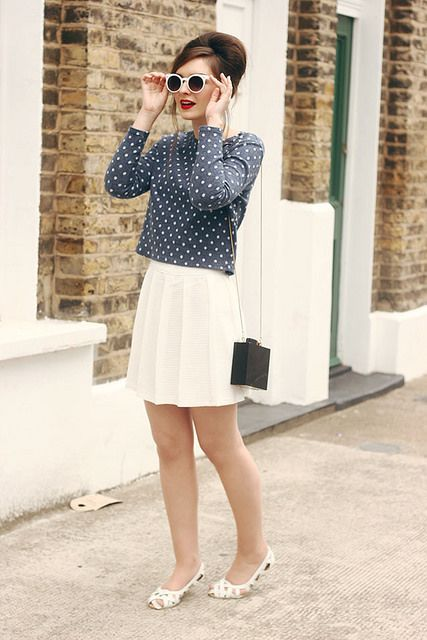 Urban Outfitters Spot Sweatshirt White Sunglasses Sixties Style by What Olivia Did, via Flickr
