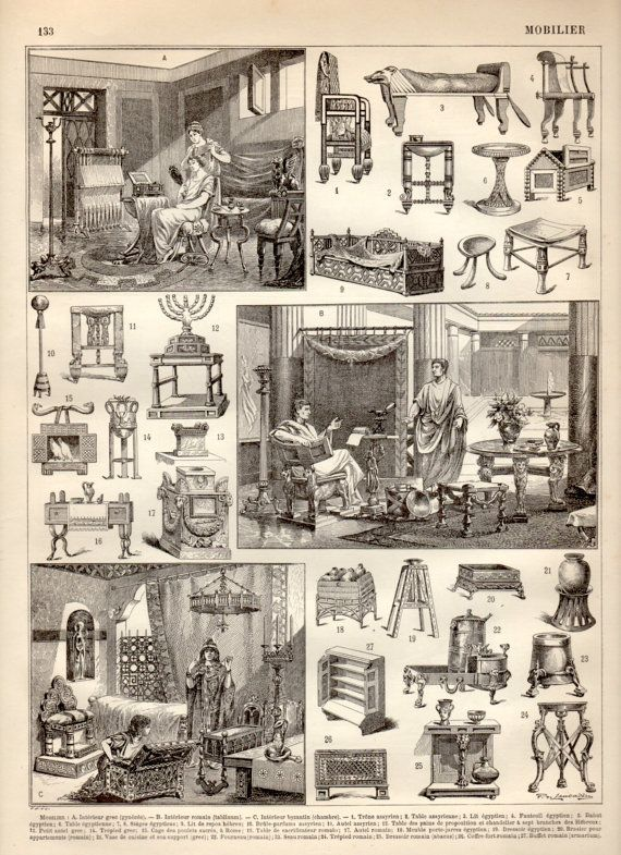 Ancient Furniture 1897 Antique Print Vintage by Craftissimo, €12.00