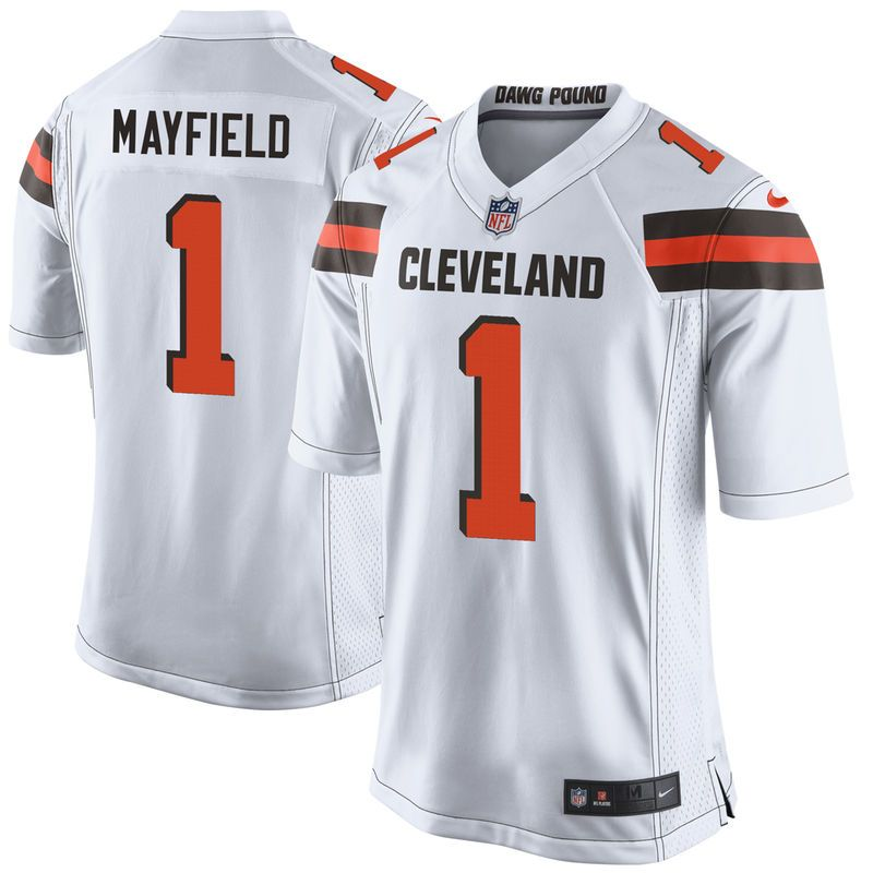 9ada69ee937 Men s Nike Baker Mayfield White Cleveland Browns 2018 NFL Draft Pick Game  Jersey