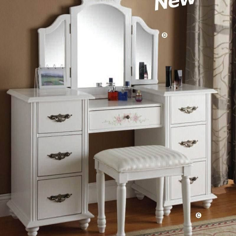 White Vanity Dressing Table Set W Mirror