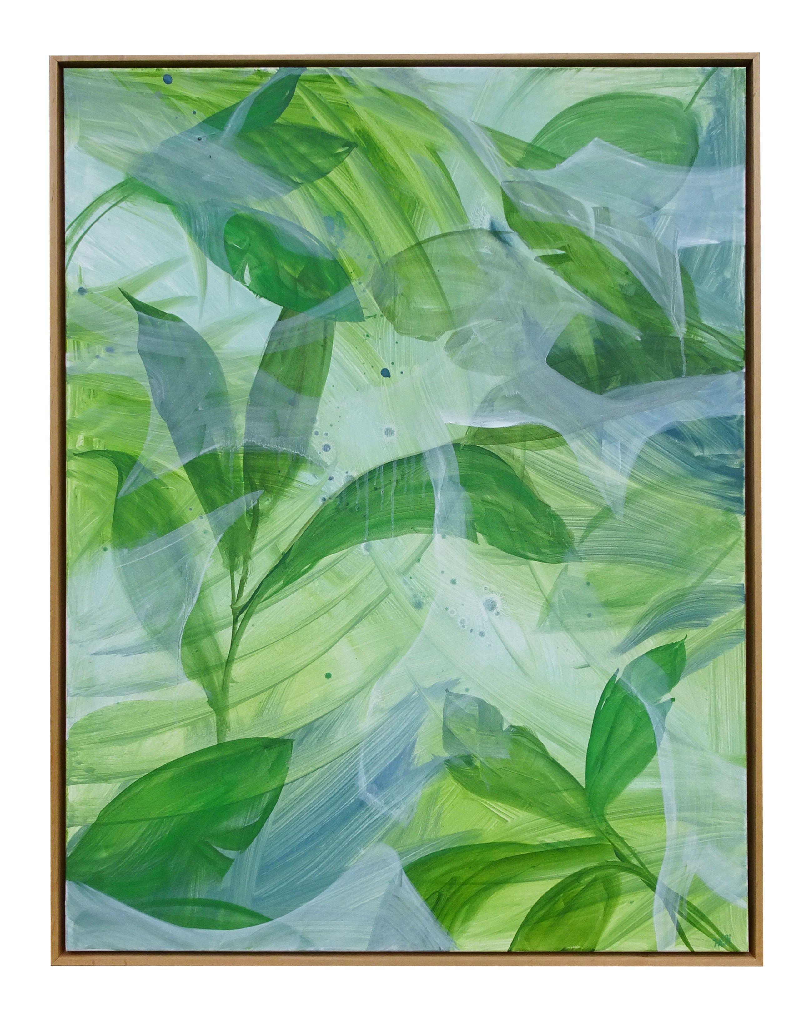 Banana Leaf 30 X 40 Oil On Canvas Framed In Wood Floater