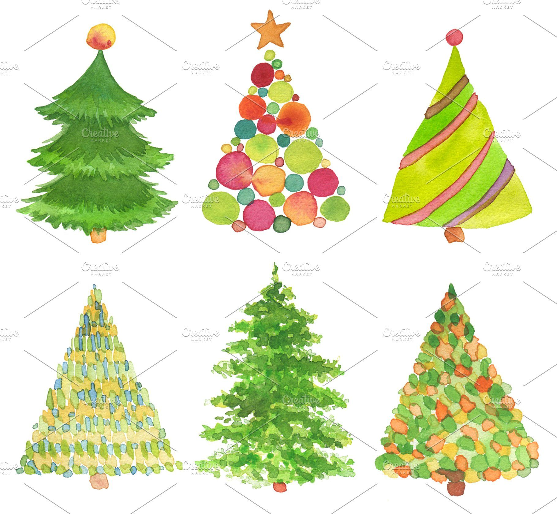 Set Of Watercolor Christmas Tree