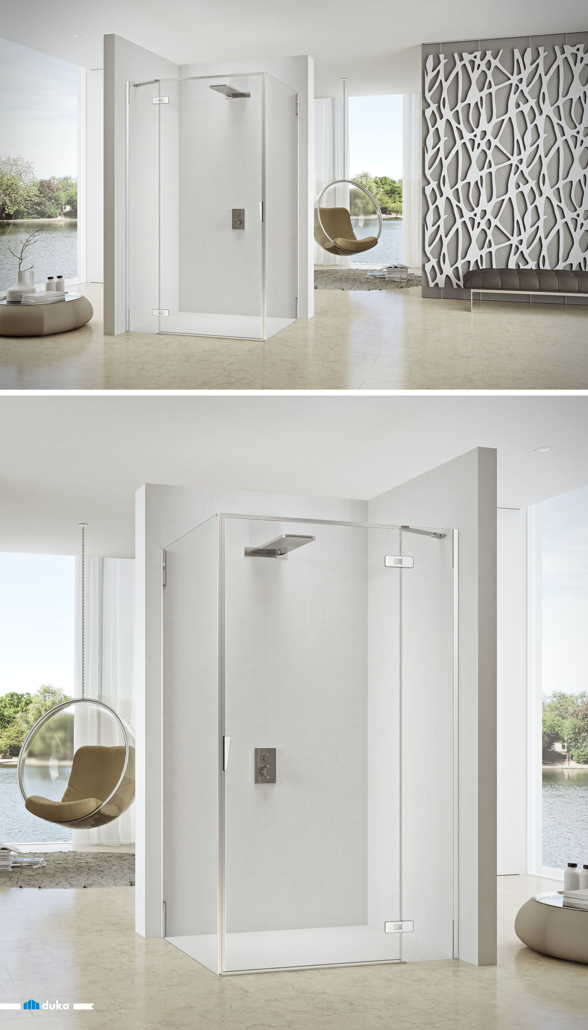 Pura 5000 This Shower Enclosure Is A Great Solution For Large And Contemporary Bathrooms The Swing Door Offers A Comfort Corner Shower Enclosures Showe