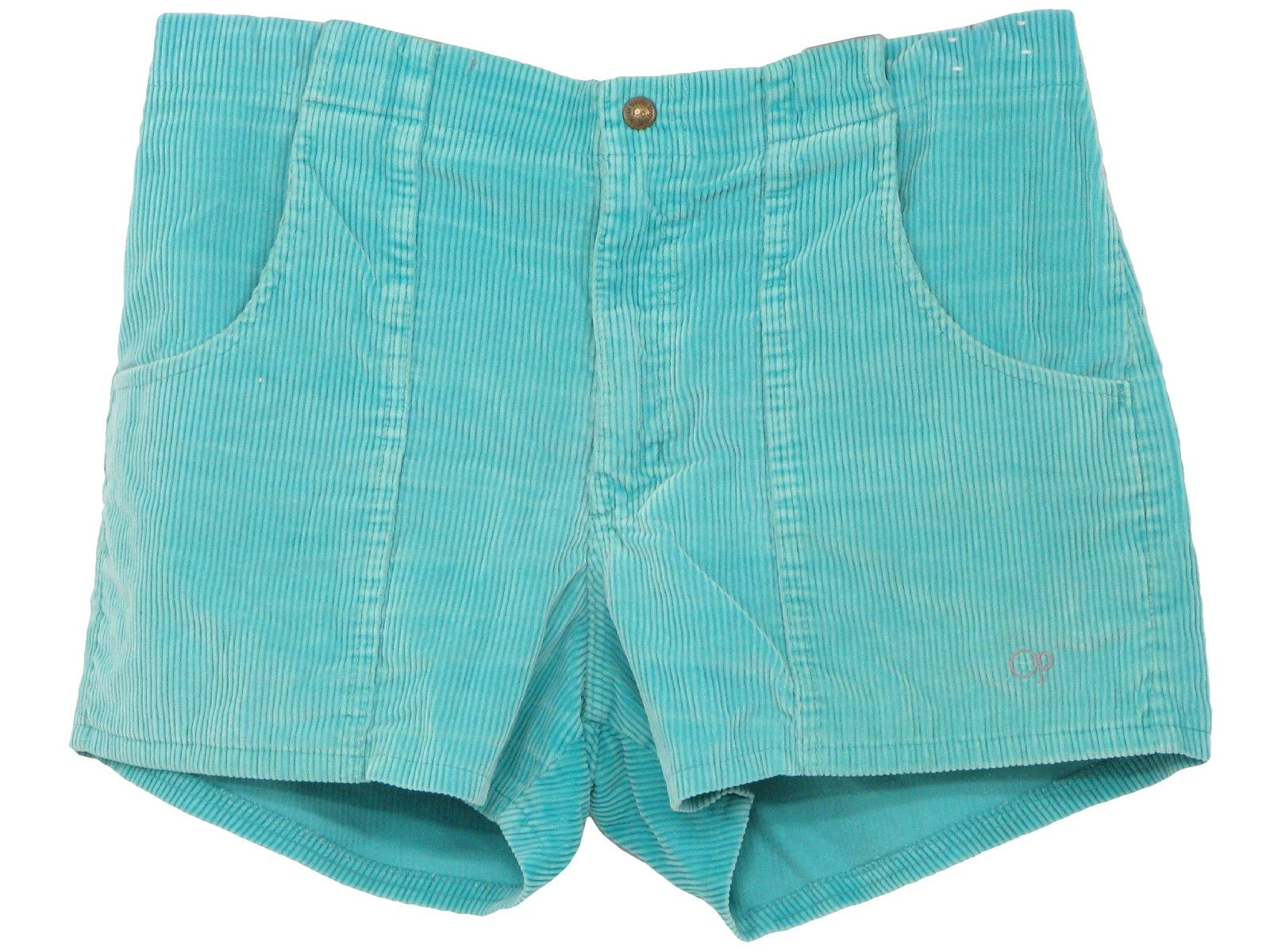 fe2eb3cb700ec6 80s -OP (Ocean Pacific) - Mens teal green faded cotton corduroy shorts with  snap/zip closure, three patch pockets and embroidered op emblem.