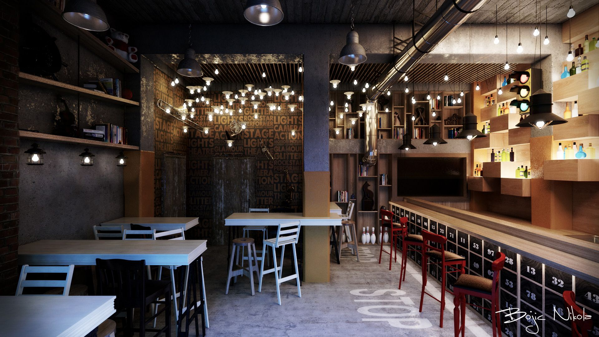 Cafe With Clever Lighting Painted Concrete Floor And