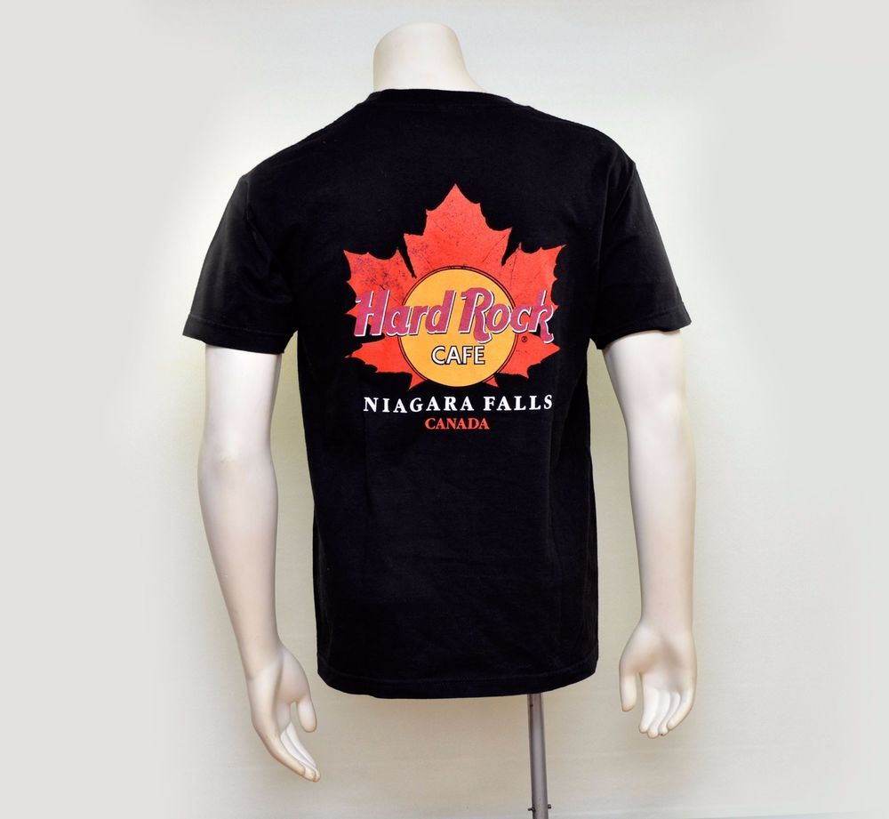 d66046d48a86 HARD ROCK CAFE Niagara Falls Canadian Maple Leaf Mens Black T-Shirt Size M