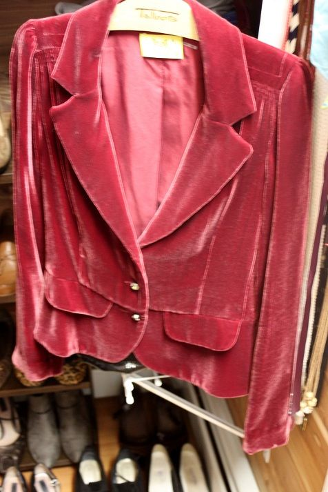 34ba1c6092d3  left to right  Juicy Couture burgundy rose velvet jacket