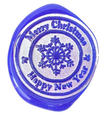 Merry Christmas & Happy New Year Snowflake  http://www.letterseals.com/collections/wax-seal-stamps-winter-christmas/products/christmas-winter-designs-wax-seal-stamps   #letterseals