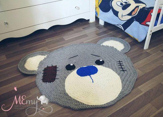 Handmade Crochet Teddy Bear Crochet Rug Nursery Baby And Kids Room Decoration Bear Rug Kids Area Rugs Crochet Teddy Bear