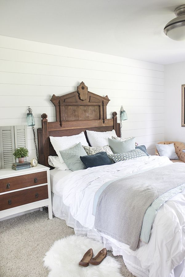 bedroom decor plank walls white with subtle