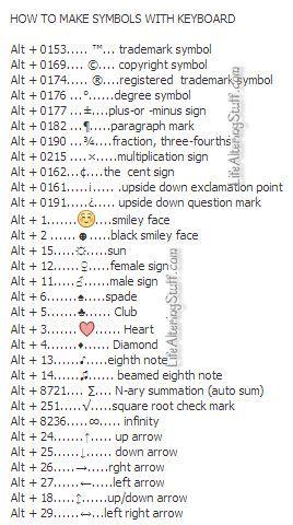 How To Make Symbols With The Keyboard Study Pinterest Symbolen