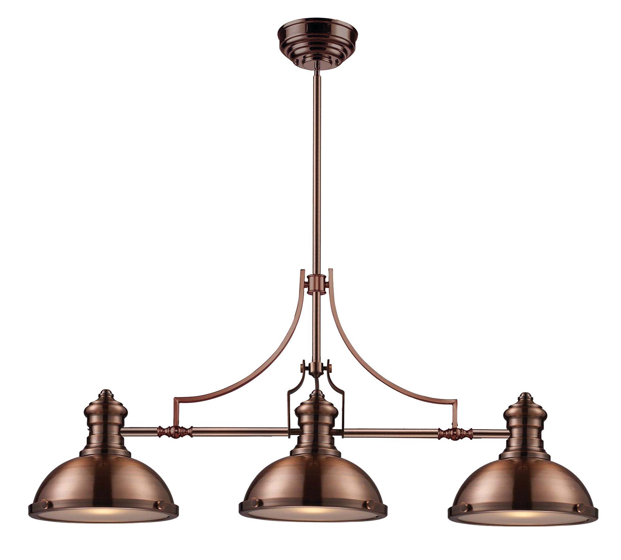 Fredela 3 Light Kitchen Island Linear Pendant Kitchen Island Pendants Copper Lighting Ceiling Lights