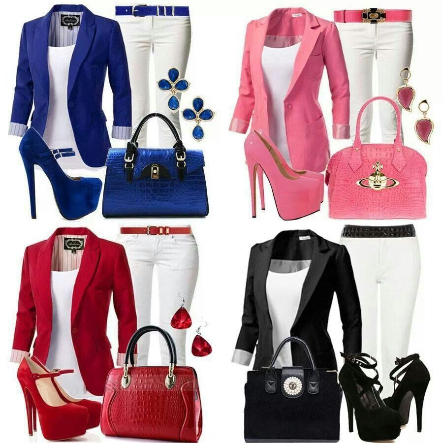Blue, Pink, Red & Black Outfits