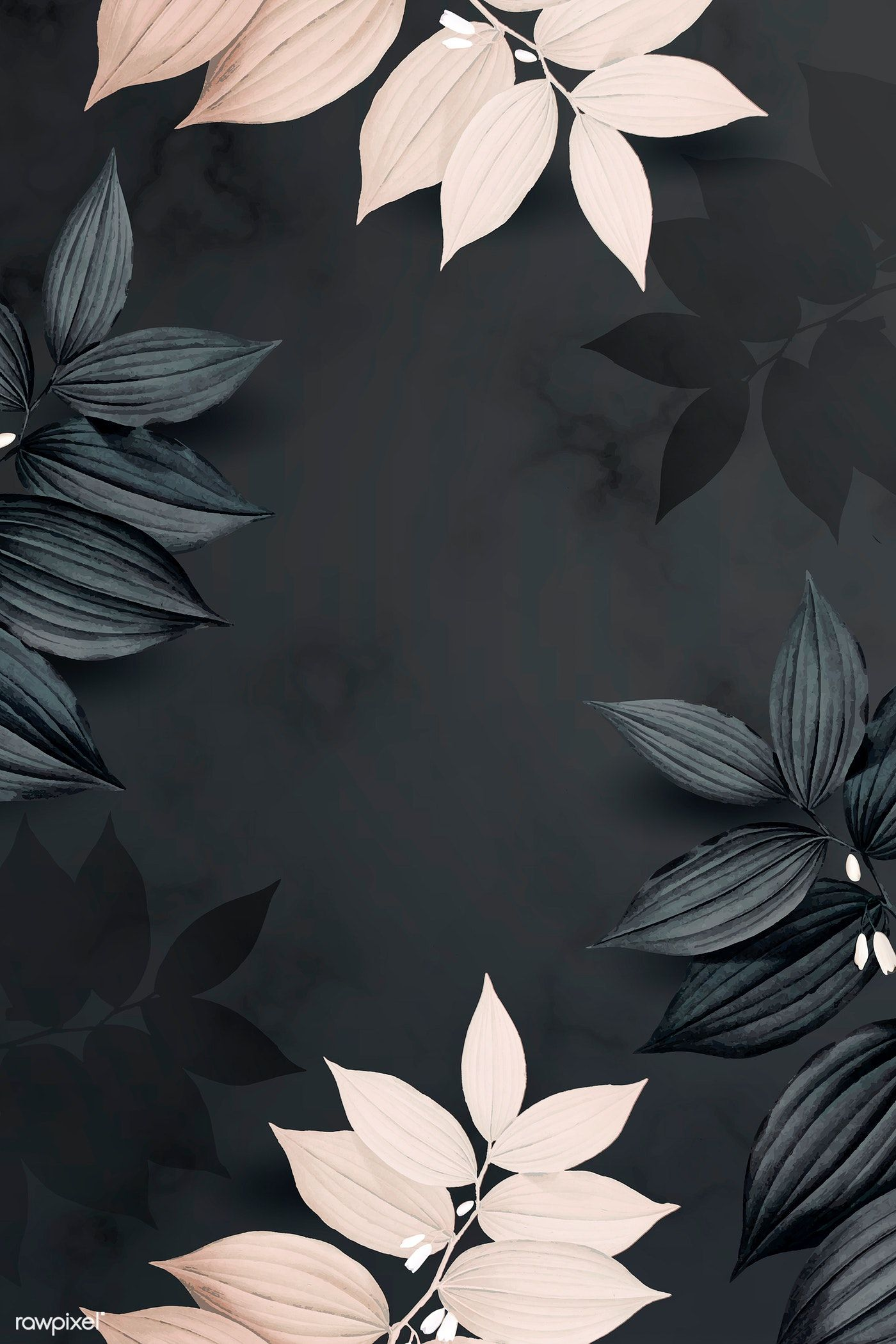 Download premium illustration of Foliage pattern black background vector #backrounds