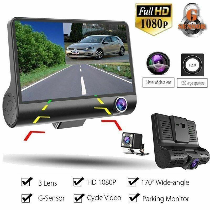 NEW 3 Lens 4/'/' HD 1080P Car DVR Dash Cam Vehicle Video Recorder Rearview Camera