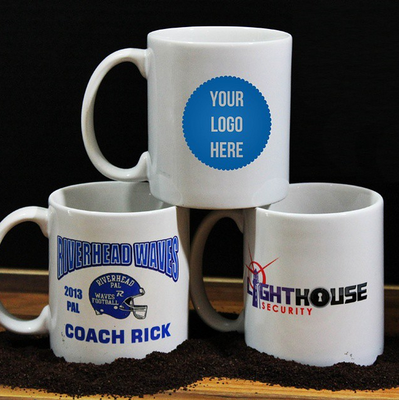 Custom Logo Coffee Mugs With No Minimum Set Up Fee Small Orders Welcome Your Full Color Text Volume Great For Business