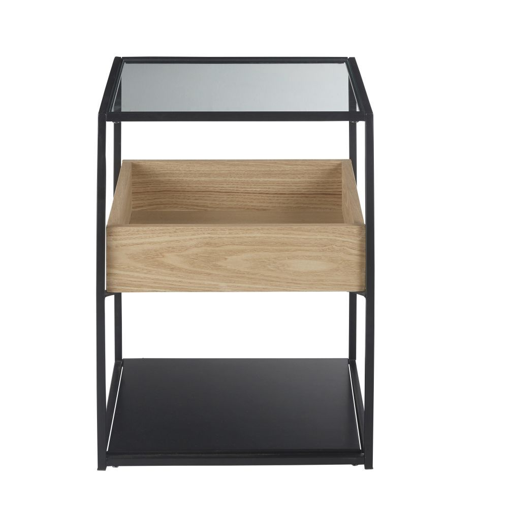 Table De Chevet En Metal Noir Et Verre Trempe In 2020 Furniture Table Black Metal
