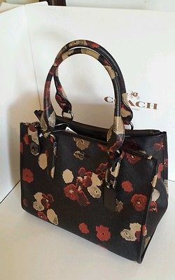 LIMITED! NWT COACH f33856 FLORAL EMBOSSED LEATHER CARRYALL SATCHEL  BLACK MULTI