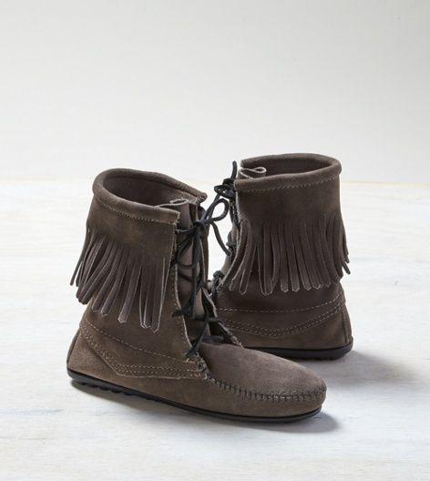 Grey Minnetonka Tramper Ankle Boots