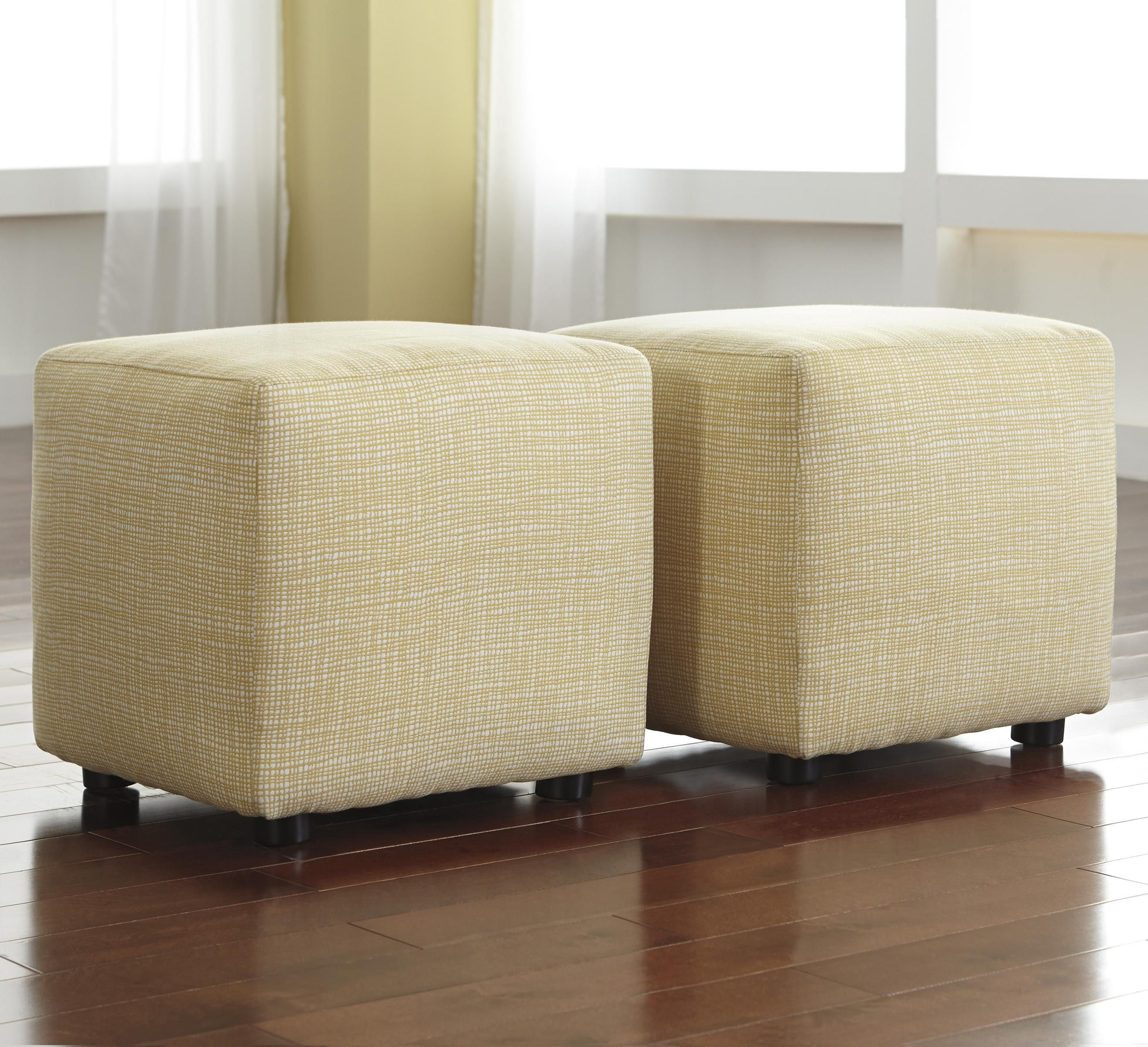 Chamberly - Alloy Set of 2 Cube Ottomans by Ashley (Signature Design ...