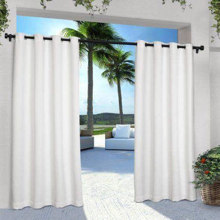 Indoor/Outdoor Solid Cabana Grommet-Top Window Curtain Panels, Set of 2, White