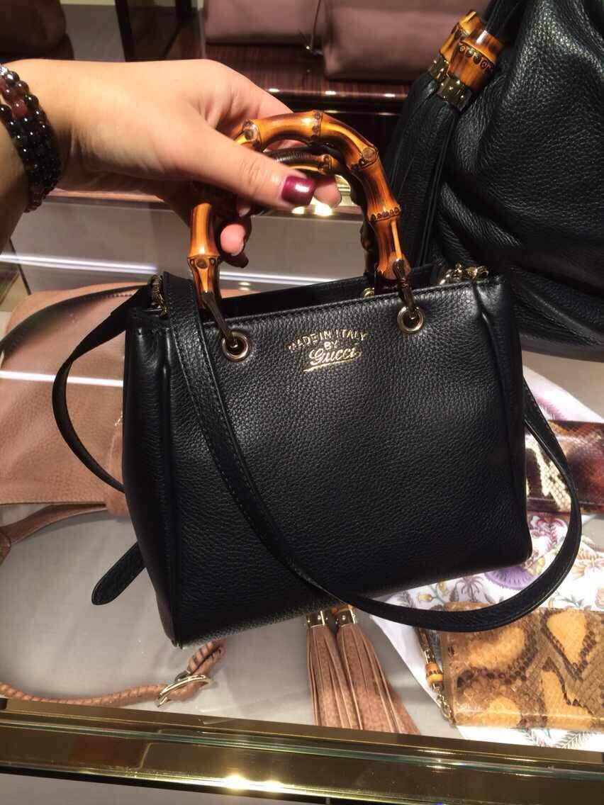 Authentic Gucci Bamboo Shopper Mini Handle Bag 368823 Black   bag ... 3c39c77a35c