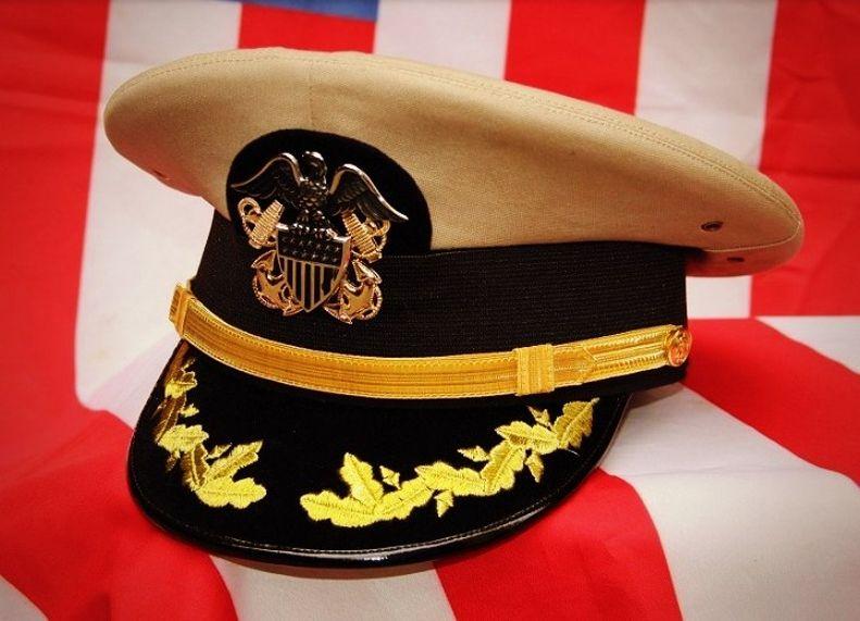 20eb559f303 military  hat - WW2 US NAVY OFFICERS Cap Gold Bullion VISOR in khaki ...