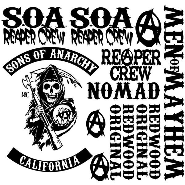 Sons Of Anarchy Vinyl Decals Stickers Soa Samcro Reaper Crew Biker Liked On Polyvore Featuring Sons Of Anar Sons Of Anarchy Reaper Sons Of Anarchy Anarchy