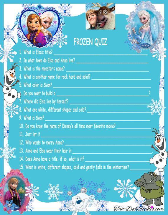 NEW Disney Frozen Movie QUIZ Game Birthday Party Quick Page