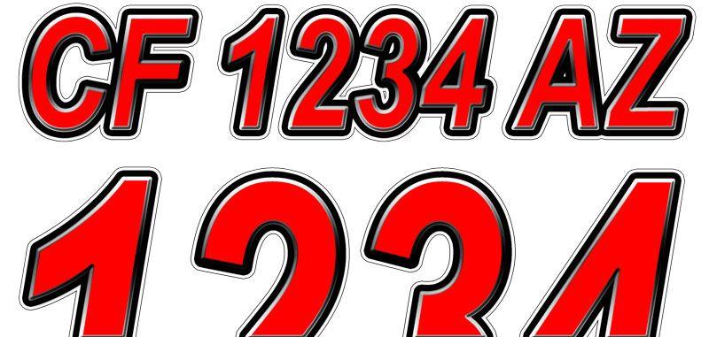 Pearl Black Custom Boat Registration Numbers Decals Vinyl Lettering Stickers