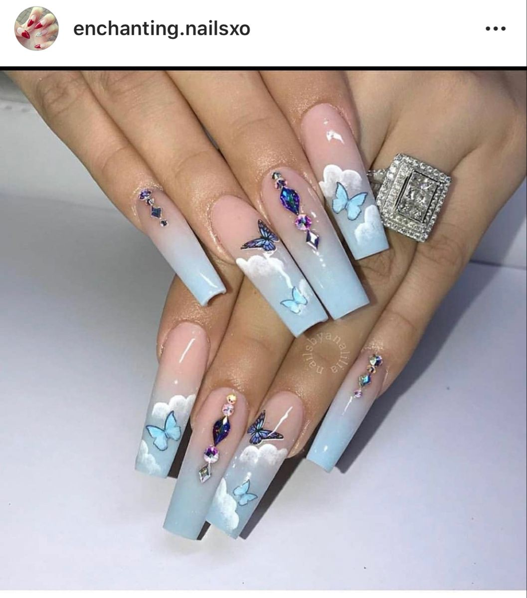 Butterflies In The Clouds In 2020 Blue Acrylic Nails Cute Acrylic Nail Designs Best Acrylic Nails