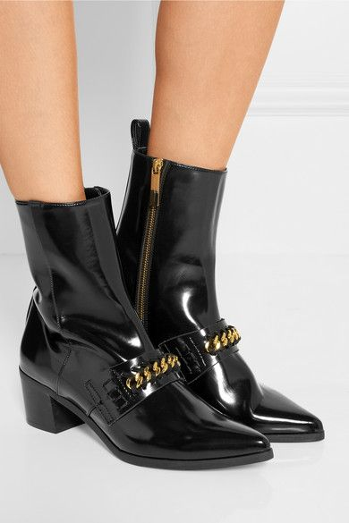 5328c2bffa4 Stella McCartney - Chain-embellished faux patent-leather ankle boots ...