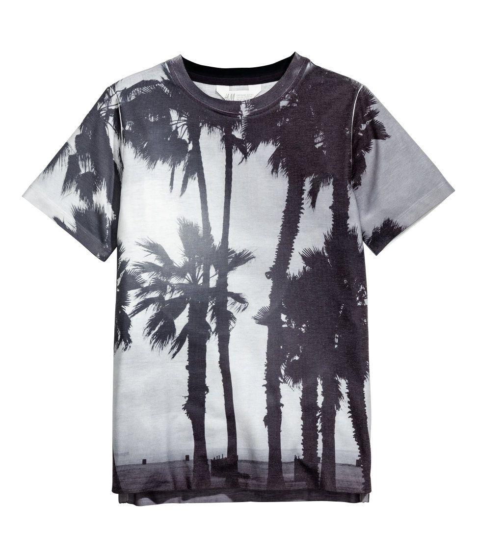 Black light t shirt ideas - T Shirt With Printed Design Light Gray Palms Kids H M Us