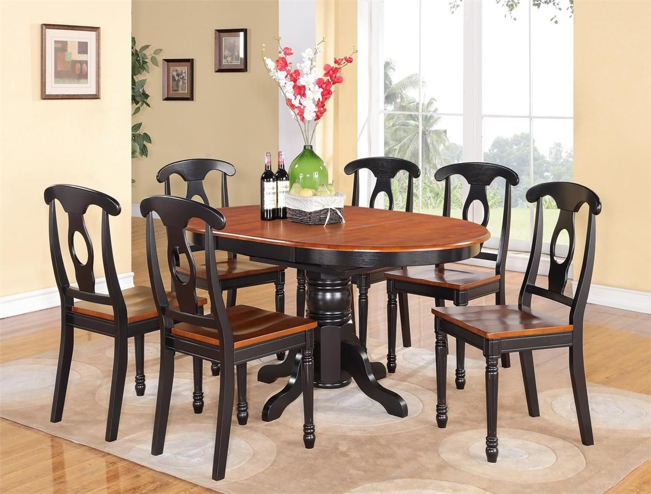 Black Stained Teak Wood Dining Table With Oval Brown Top And 6 Oval Table Dining Dining Table In Kitchen Wood Dining Table