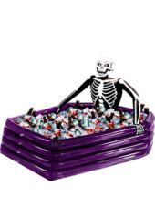 """Inflatable Skeleton Cooler - Party City -- DIY, fill tub full off ice and add drinks and skeleton with showercap taking a """"bath"""" - similar to this photo"""