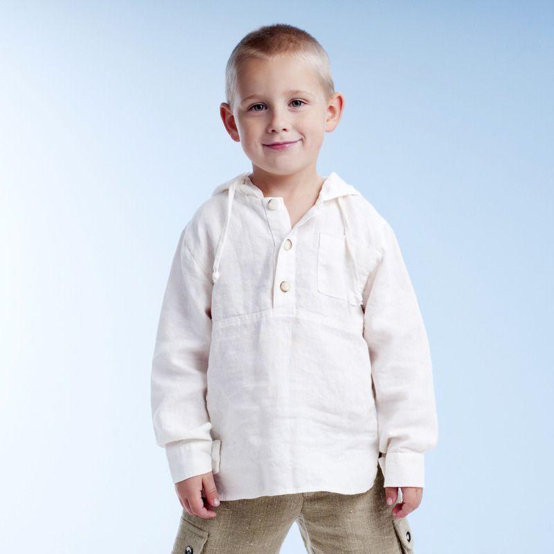 7a22581cbe70 Boys White Linen Hooded Long-sleeved Shirt : LinenKids linen store offers  girls linen dresses, boys linen suits and linen accessories