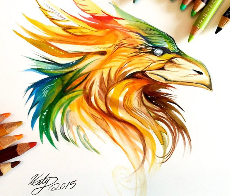 phoenix head color drawing by katy lipscomb art - Color Drawing Pictures