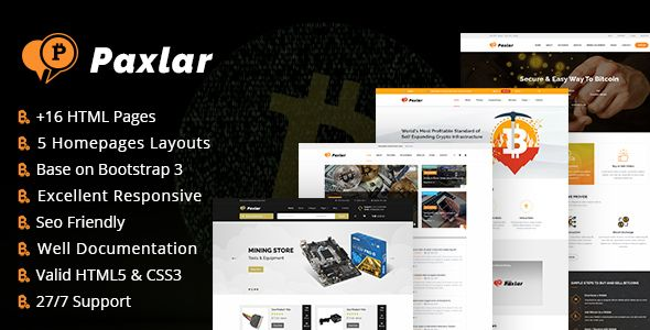 Paxlar - #Bitcoin and #Cryptocurrency HTML Template - Business ...
