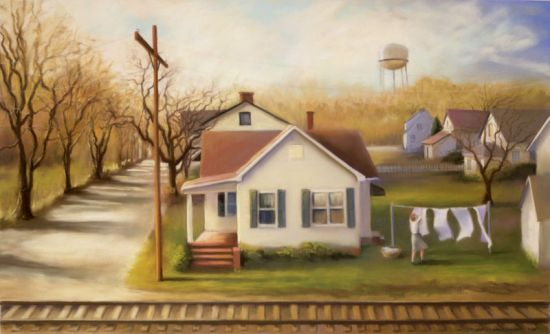 Deborah DeWit, Hometown: A wonderful painting. I've been pinning practically all of DeWit's paintings. A great discovery to make on a cold fall night! Note by Roger Carrier