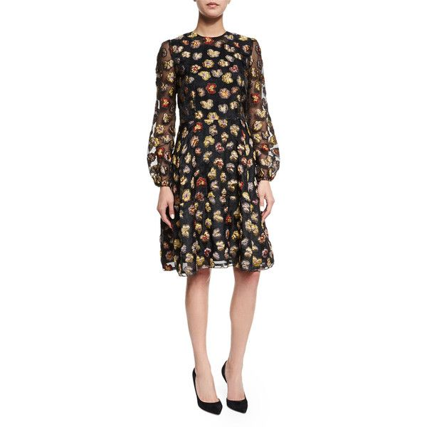 Co Long-Sleeve Floral Dress ($925) ❤ liked on Polyvore featuring dresses, multi, a line long dress, long sheer dress, long sleeve a line dress, transparent dress and sheer dress