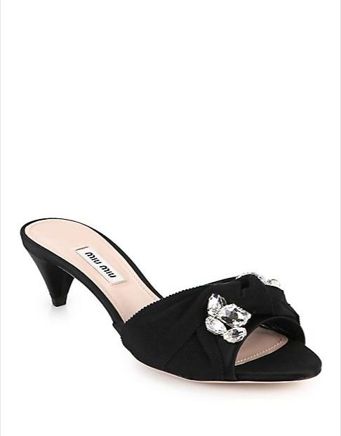 0b0a42f439 Crystal & Ribbon-Embellished Satin Slide Sandals $850 | Miu Miu in ...