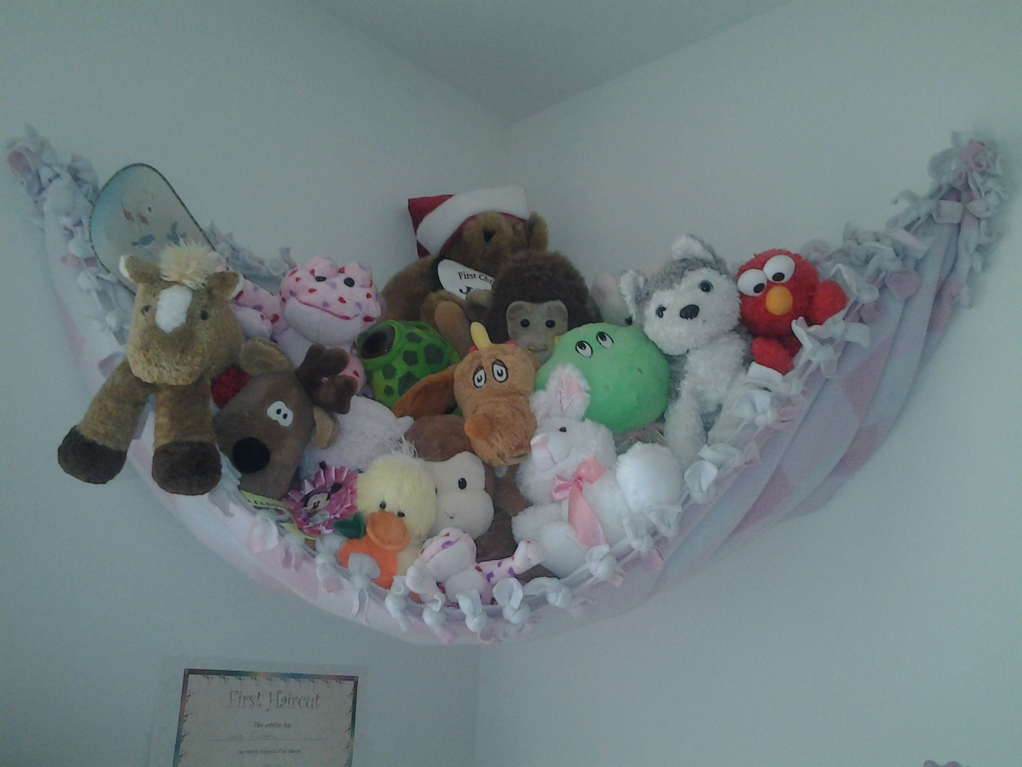 Quick way to store and display stuffed animals. Stuffed