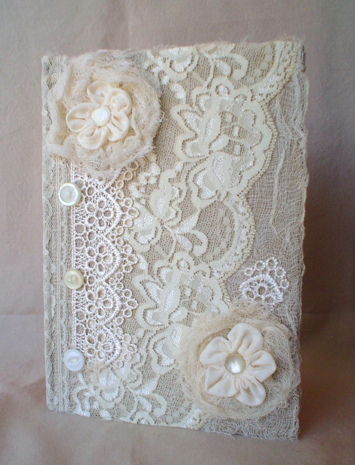 Lace Journal Diary Notebook Handmade Ribbon Flowers Vintage Button Fabric Fabric Book Covers Fabric Book Handmade Journals