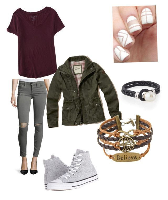 STYLE🍦 by ellabellaj on Polyvore featuring polyvore, fashion, style, Aéropostale, Hollister Co., Frame Denim, Converse, Majorica and clothing