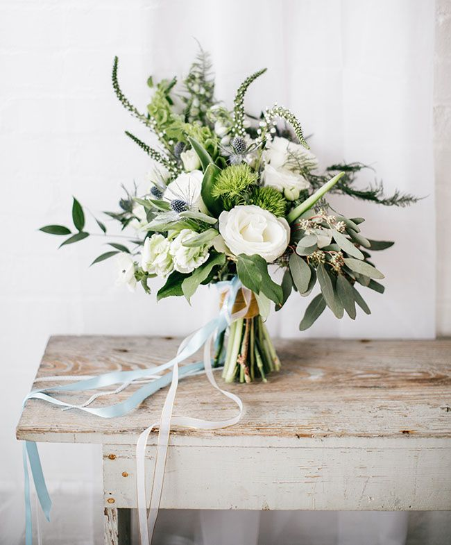 green + white bouquet - lovely structure, would add a little purple for colour