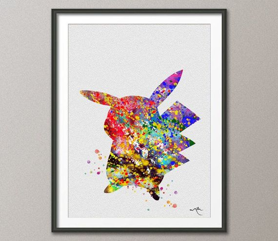 Pokemon Wall Decor pokemon pikachu anime watercolor illustrations art print nursery