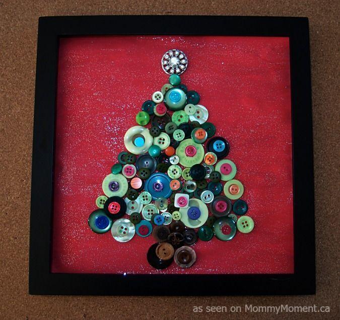 Framed Christmas Tree Button Art Button Art Button Art On Canvas Button Crafts