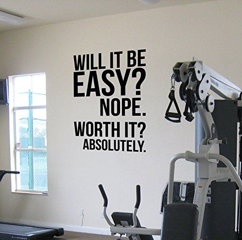 Worth It? Gym Motivational Wall Decal Quote Running Fitness Iron man Kettlebell Health and Fitness TRX Spinning Crossfit Workout Boxing UFC MMA Designil ... & Worth It? Gym Motivational Wall Decal Quote Running Fitness Iron man ...
