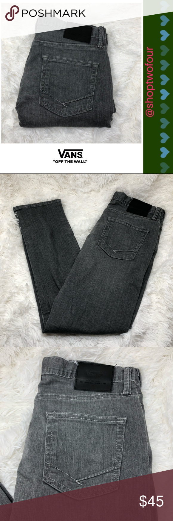 104d153ba9 Vans Off the Wall V76 skinny jeans Worn gray Vans Off the Wall Men s skinny  denim jeans Color- worn gray Size - 32 x 30 Inseam - 30 inches 93% cotton  6% ...